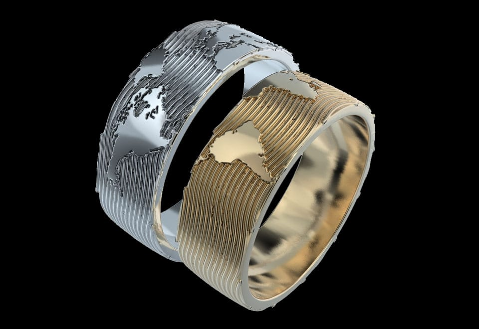 silver gold island rings