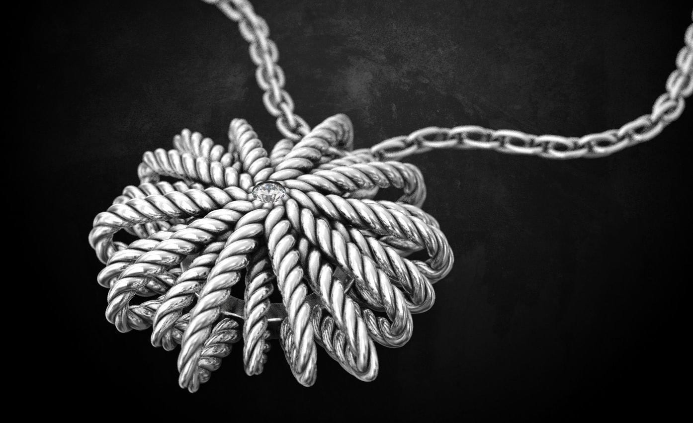 bespoke silver rope pendant